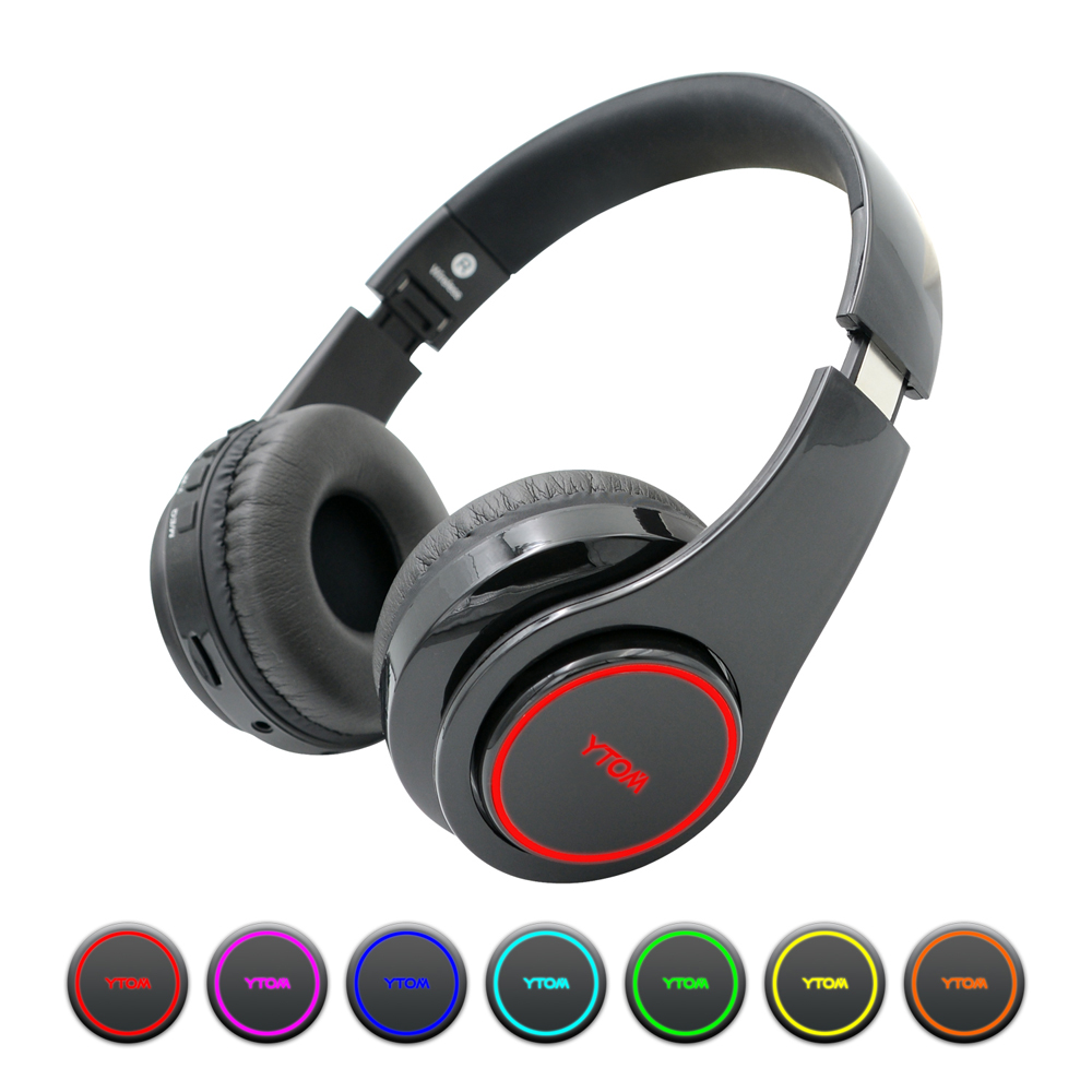 Y1 Wireless Headphones Bluetooth Headset with 7 LED light (can on/off) Support TF Card earphone with mic for PC TV phone xiaomi ekind head mounted wireless headphone bluetooth headset earphone with mic support tf card radio for phone iphone xiaomi pc tv