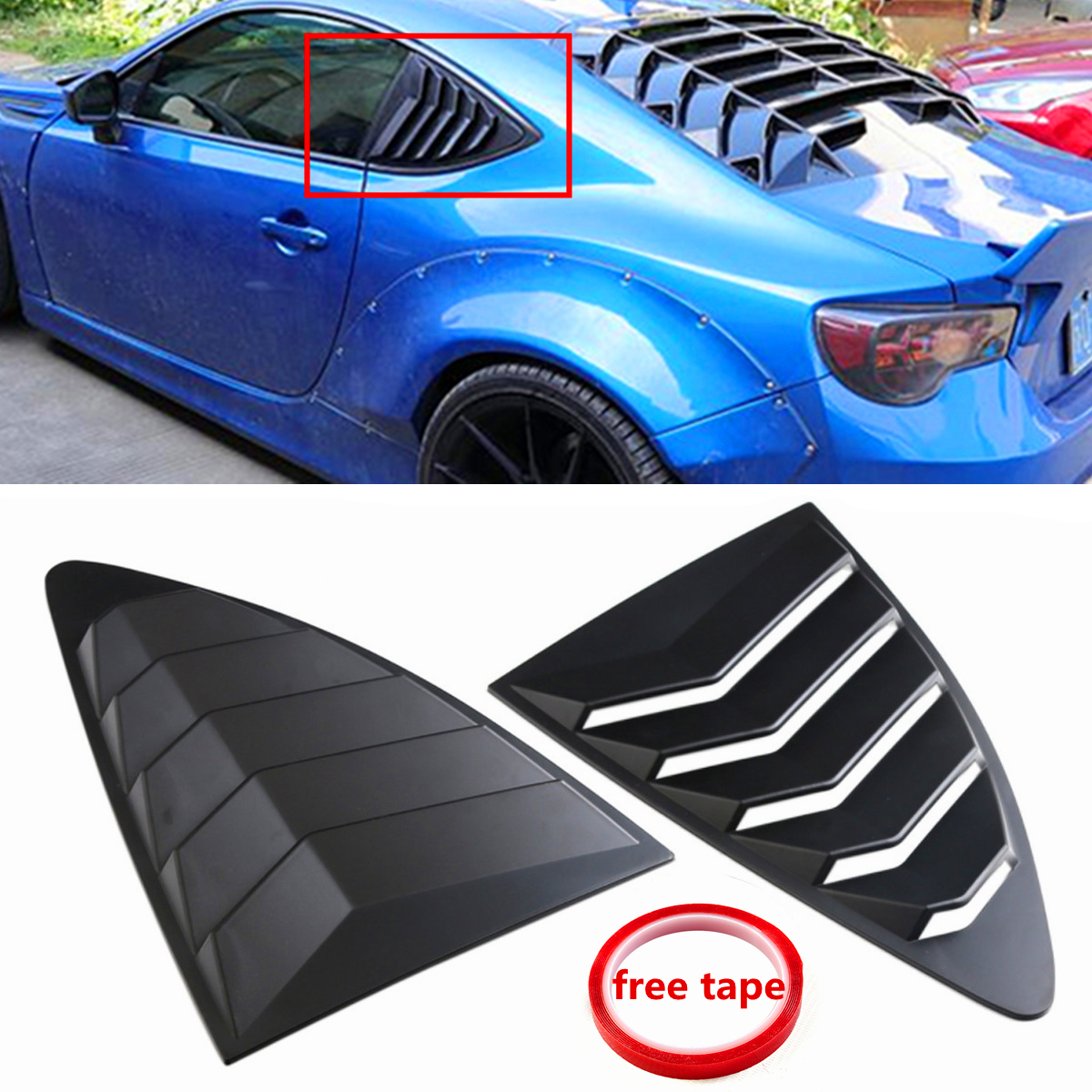 2pcs Car Rear Louver Quarter Window Panel Black Plastic For Scion FRS for subaru BRZ for Toyota 86 GT86 2013-2018 ABS Stickers