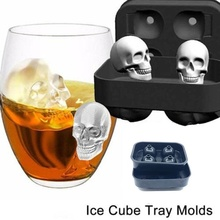 2019 New Arrive Skull Shape 3D Ice Mold Maker Bar Party Silicone Trays Halloween Mould Gift