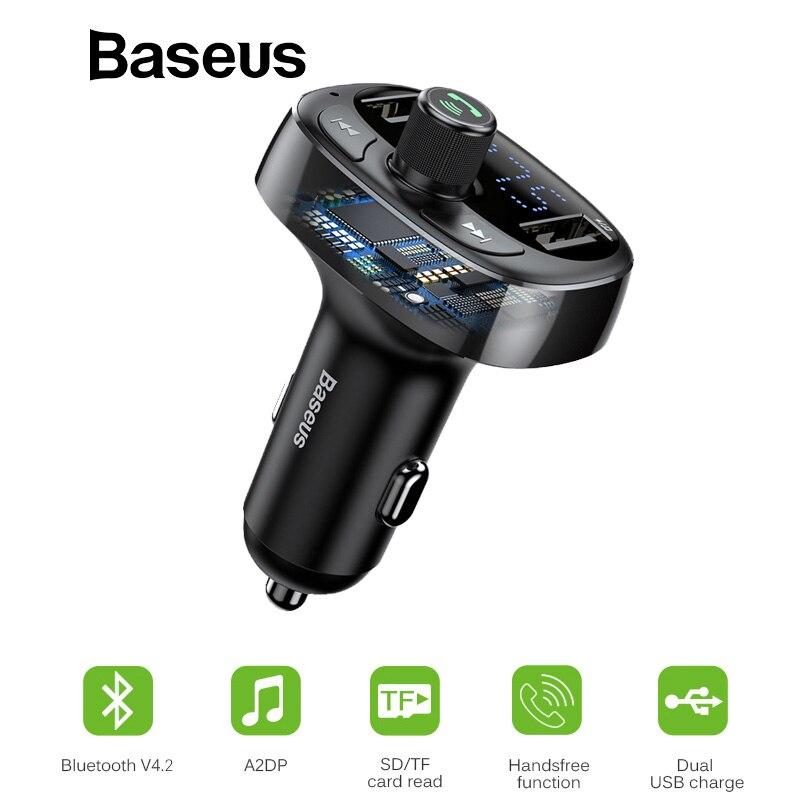 Baseus Auto Ladegerät FM Transmitter Aux Modulator Bluetooth Car Audio MP3 Player 3.4A Schnelle Dual USB Handy Ladegerät