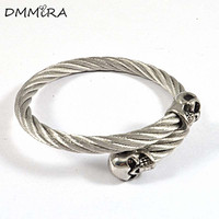 Fashion Men Women Silver Gold Stainless Steel Skulls Clasp Twisted Silver Gold Cable Bangles Cuff Bracelets