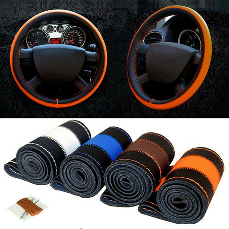 New 38cm Genuine Leather Auto Car Steering Wheel Cover Soft Anti-slip Car Steering Cover Black Braid With Needles and Thread
