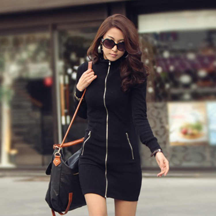 c1ca03853c5 Women's Fashion Autumn Jacket Overcoat Female Casual Zipper Dress Korean  Style Bodycon Pocket