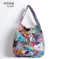 Kadın çanta Dikiş Moda çanta Baskılı kot çanta Ulusal rüzgar pamuk çantası bao bao