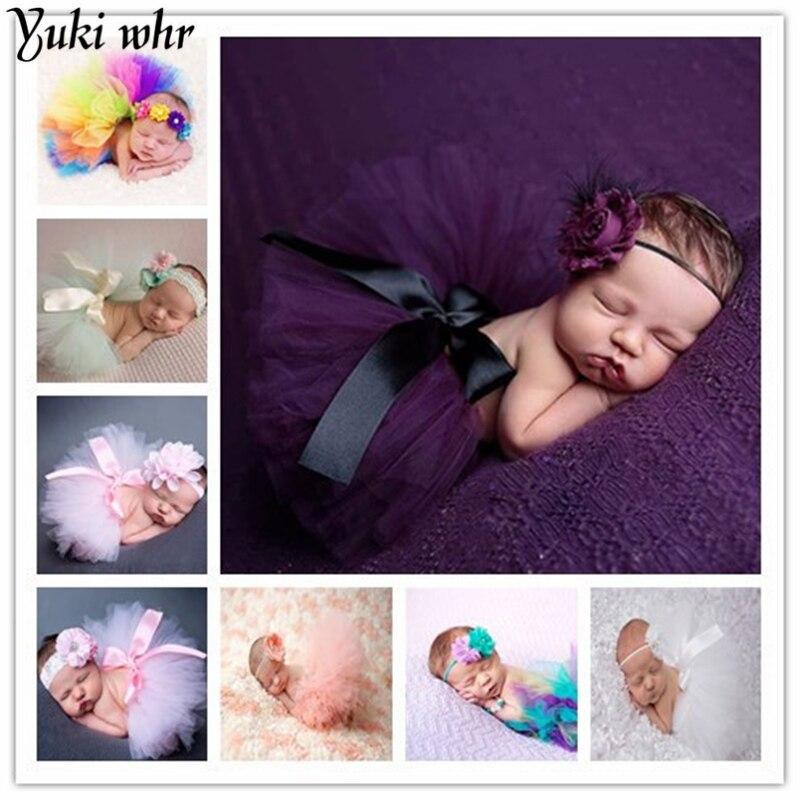 Newbo2016 rn photography props baby girls purple peacok feather skirt photo tutu sets+flower headband shoot