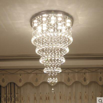Crystal Lamp Living Room Lamp Luxury Atmosphere Round Simple Modern Restaurant Villa Hotel Lobby Crystal Large Chandelier Led
