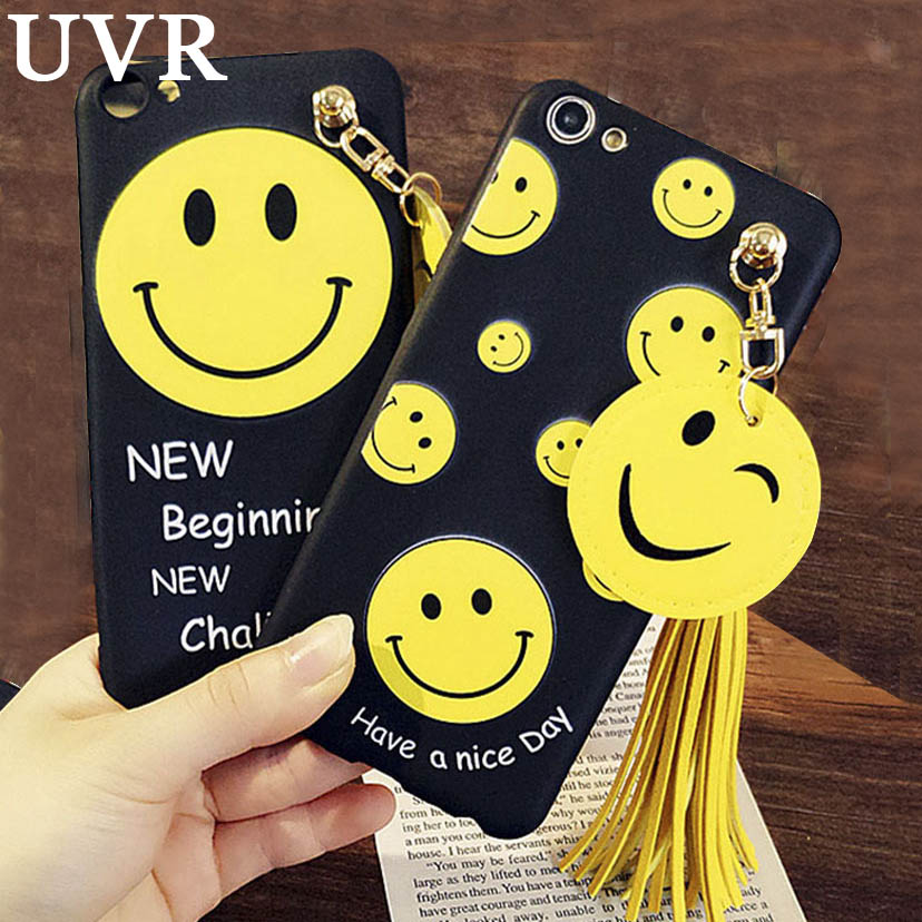 UVR Japan Korea Cute Smile Face Have a nice Day Cover Funda Carcasa for iPhone 5 6 S 7 Plus Cool Tassel Coque Soft Silicone Case