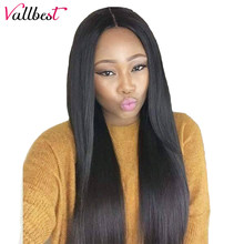Vallbest 150% Remy Peruvian Straight Lace Front Wig For Black Women 13*4 Lace Front Human Hair Wigs Perruque Cheveux Humain 1B#(China)
