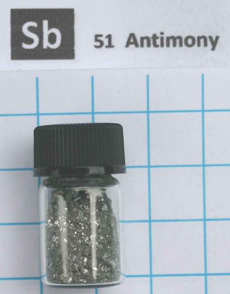 99.999% Antimony Metal, Sb Element 51 sample, 10 Grams In Glass Vial molybdenum metal element 42 mo pellets 5 grams 99 99% in glass vial