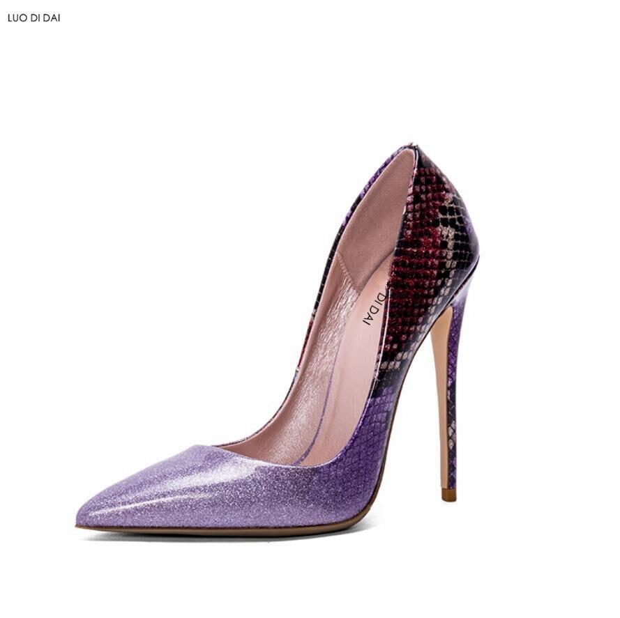 Talons Talon Soirée Chaussures Couleur Paillettes Nouveauté argent Pourpre Point 2019 Mince Pompes En Hauts Femmes Violet Toe Habillées Cuir De Gradient XqxFwwaAz