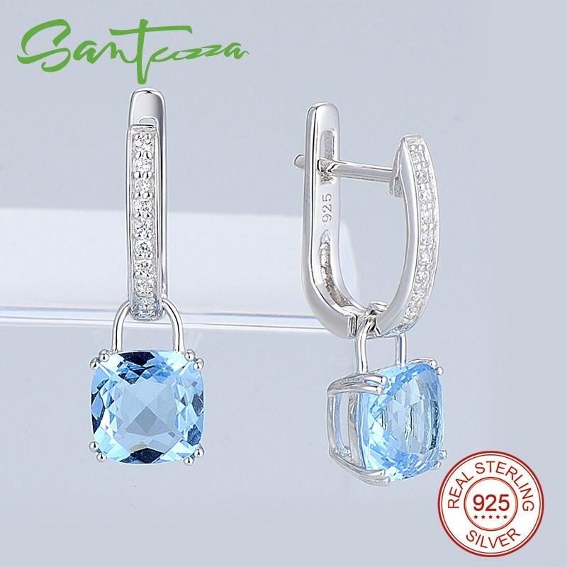 Silver Drop Earrings for Women Cushion Sky Blue Stone White Cubic Zirconia Earrings Pure 925 Sterling