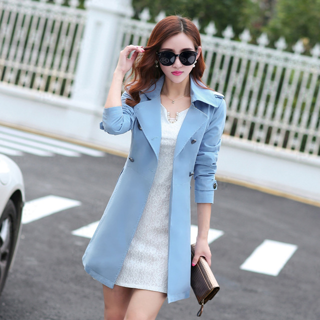 Новый 2017 весна пальто женщин тонкий пальто средней длины сплошной цвет траншеи пальто элегантных женщин вскользь пальто для женский MZ811