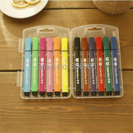 12 colors/set HOT free shipping Grasp brand watercolor pen the baby and young childrens non-toxic and washable color brush