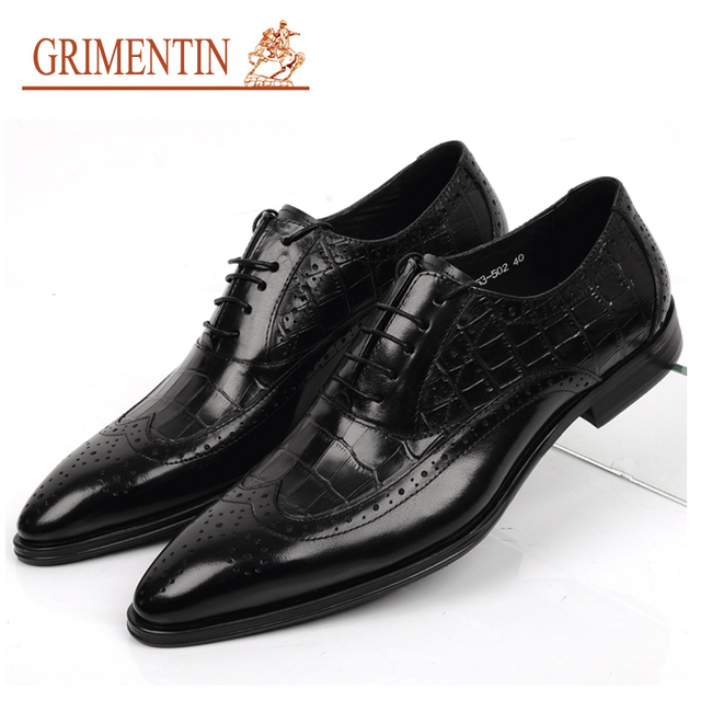 GRIMENTIN genuine leather men shoes wedding fashion lace up black brown vintage business office male dress shoes men flats