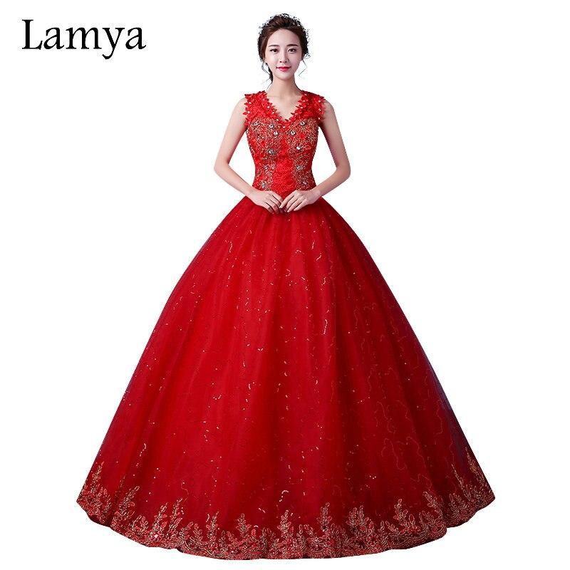 LAMYA personnalisable robe de mariée en dentelle rouge col en V 2018 robes de mariée Vintage robes Discount