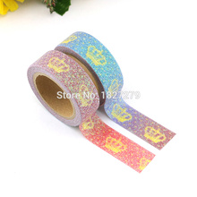 1pc Glitter Crown Washi Tape Stationery Decorative Scrapbooking Diy Photo Album School Tools Great Christmas Gift
