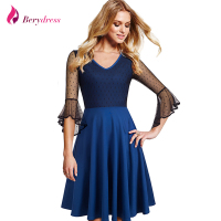 Berydress Elegant Women Blue Vestidos Patchwork 3 4 Flare Sleeve Wedding Party A Line Knee Length