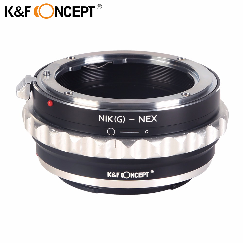 K&F CONCEPT Lens Mount Adapter Ring with Aperture Dial for Nikon G Type Lens (to) fit for Sony E-Mount NEX Camera Body цена и фото