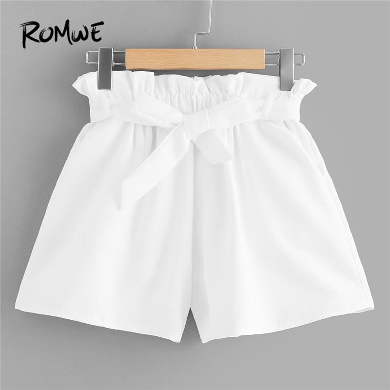 ROMWE White Solid Self Tie Waist Frill Trim   Shorts   Women Summer Casual Streetwear Elastic Waist Knot Straight Leg   Shorts
