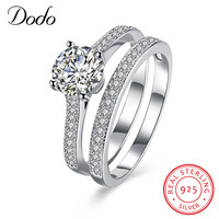 DODO Certificate Of Silver 100 925 Sterling Silver Ring Set Luxury CZ Diamant Wedding Rings For