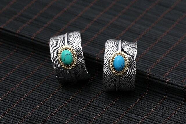 Srebrny 925 pióro pierścień mężczyźni kobiety z niebieski/zielony Teurquoise kamień 100% majątek Sterling Silver srebro 925 materiał Handmade Craft biżuteria