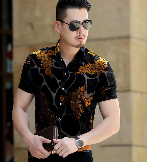 25c004c4 Summer Cool See Through Silk Shirts Men's Short Sleeve Business Casual  Floral Transparent Dress Shirt Thin Soft S-3XL