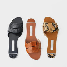 Summer Cross Women Slippers Snake Flat Heel Beach Flip Flops Shoes Women Lazy Outdoor Slip On Slides Slipper ciabatte donna lucyever women shoes flip flops 2018 new summer rhinestones high heel slip on women slipper black blue flip flops size 35 41