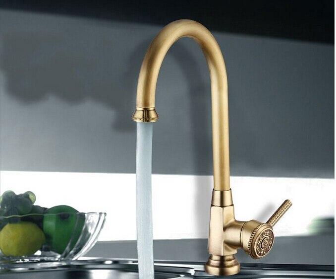 Luxe élégant Antique or Bronze robinet cuisine salle de bains navire évier mélangeur robinet pivotant Cozinha Torneira plomberie sanitaire