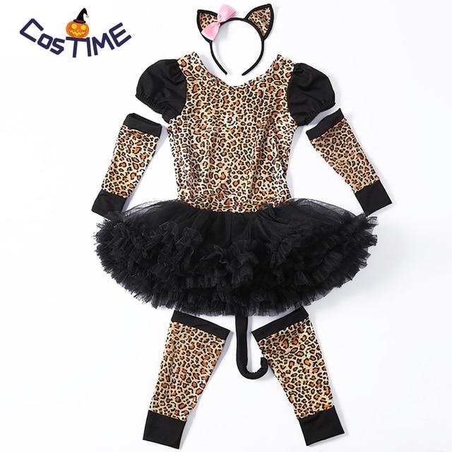 ufficiale prezzo più economico bene US $20.0 31% di SCONTO|I bambini Bella Leopardo Costume Bambina Costume  Animale del Vestito Operato Del Partito Del Modello Del Leopardo Vestito  con ...