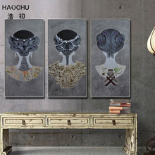 HAOCHU Personalized Figure Clothing Hair Accessories Modern Chinese Style Living Room Decorative Canvas Painting Wall Artwork