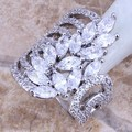 Classy White CZ 925 Sterling Silver Ring For Women  Fashion Size 6 / 10  S0186