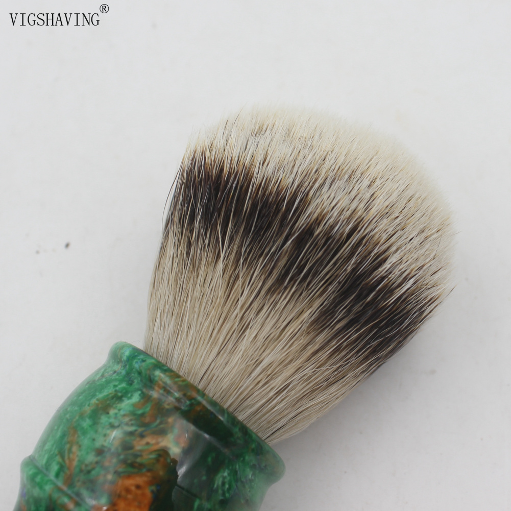 VIGSHAVING  Colorful Resin Handle Silvertip Badger Hair Men Shaving Brush