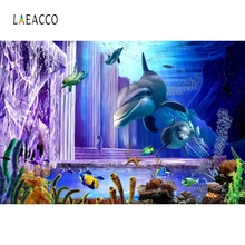 Laeacco Blue Underwater World Dolphins Baby Portrait Photography Backgrounds Customized Photographic Backdrops for Photo Studio
