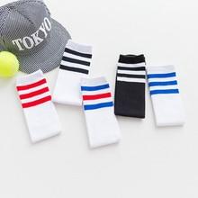 Детские длинные гольфы для катания на коньках, теплые детские гольфы, хлопковые спортивные носки в полоску для мальчиков и девочек, белые носки для старшей школы