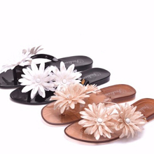 0172c059a 2018 summer new female camellia jelly sandals female sandals flat sand beach  holiday clip-foot