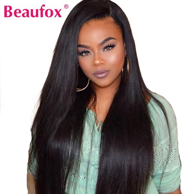 Beaufox frente de encaje pelucas de cabello humano para las mujeres negras pelucas de encaje brasileño Remy peluca recta con los pelos del bebé 150% de densidad peluca de encaje