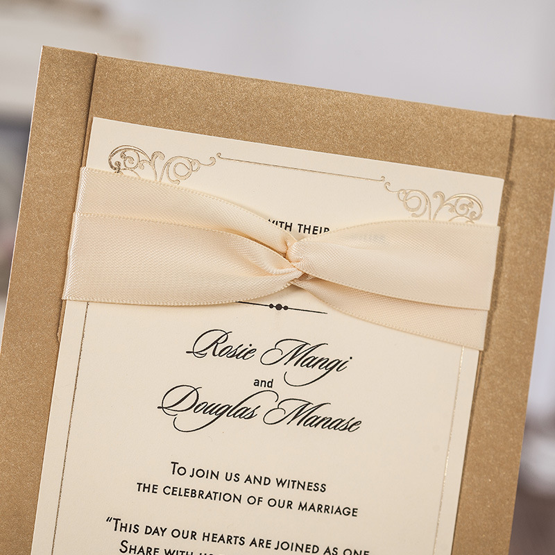 Hot Stamping Lace Wedding Invitations Cards Sets with Bowknot Ribbon ...