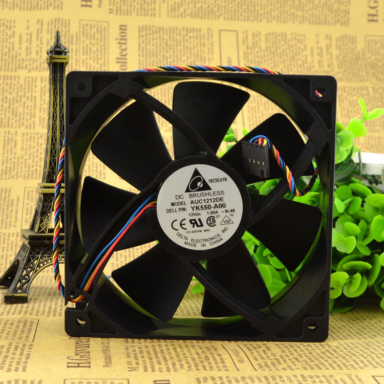 12CM 12038 12V 1.0A AUC1212DE 120 * 120 * 38mm 4 wire PWM Silent wi of chassis Cooling fan YK550-A00 image