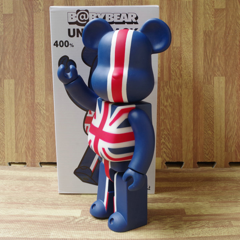 11inch 400% Bearbrick Bear@brick Action Figures British Flag Printed Bear PVC Model DIY Paint Dolls