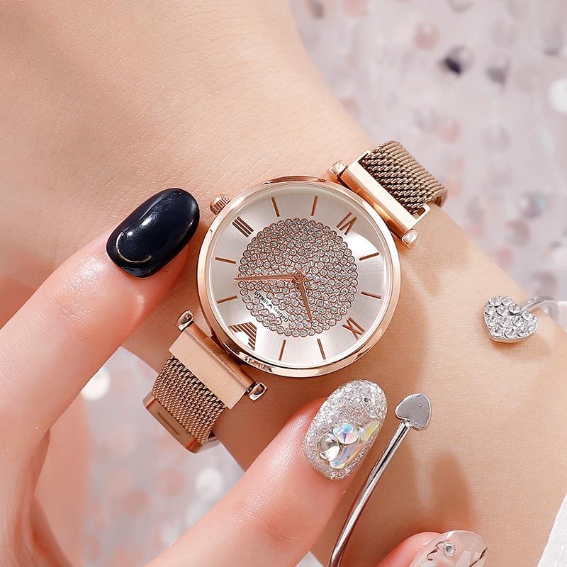 Ladies Dress Watch 2019 Women Magnetic Quartz Wristwatches Luxury Brand Women's Crystal Rose Watch Fashion Bracelet Clock Gift
