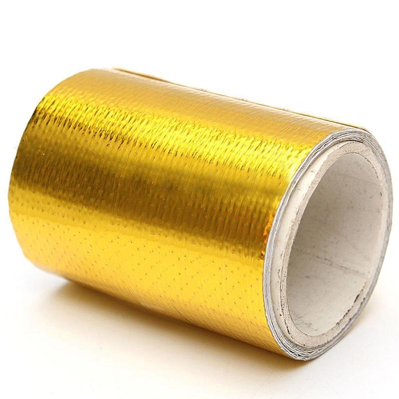 Treyues 1Roll 5*80cm Fiberglass Adhesive Adhesive Reflective Gold High Temperature Heat Shield Wrap Waterproof Tape