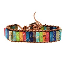 Natural Stone Chakra Bracelet Jewelry Handmade Multi Color Tube Beads Leather Wrap Couples Bracelets