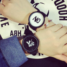 Big dial black and white middle school student male couple watch a pair of retro belt girls fashion trend male quartz