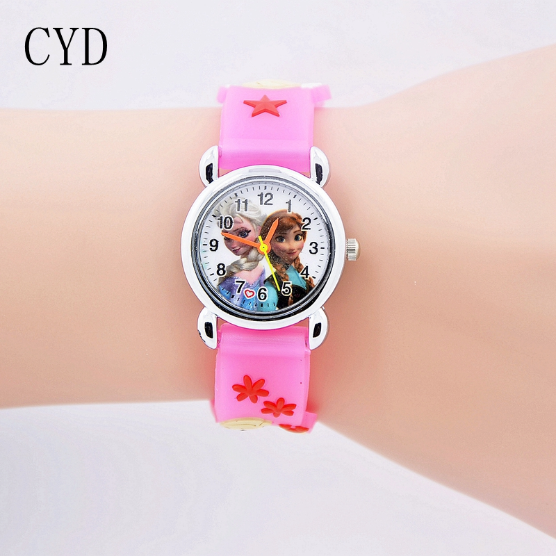 цена на 2018 fashion 3D Cartoon kids Watches Children Girls Boys Elsa and Anna Watch Casual Silicone Quartz Wristwatch Relogio Clock