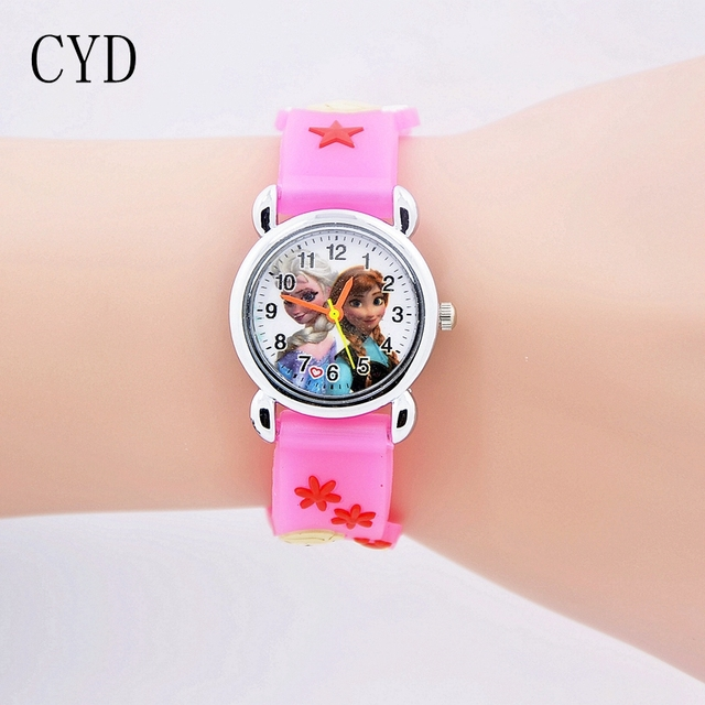 2018 fashion 3D Cartoon kids Watches Children Girls Boys Elsa and Anna Watch Cas
