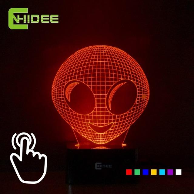 CNHIDEE Alienígena 7 Cores RGB Lâmpada Visual 3D Luz Da Noite Das Crianças Lampara Levou Candeeiros De Mesa USB Ao Lado do quarto Para Dormir como a Decoração Da Casa
