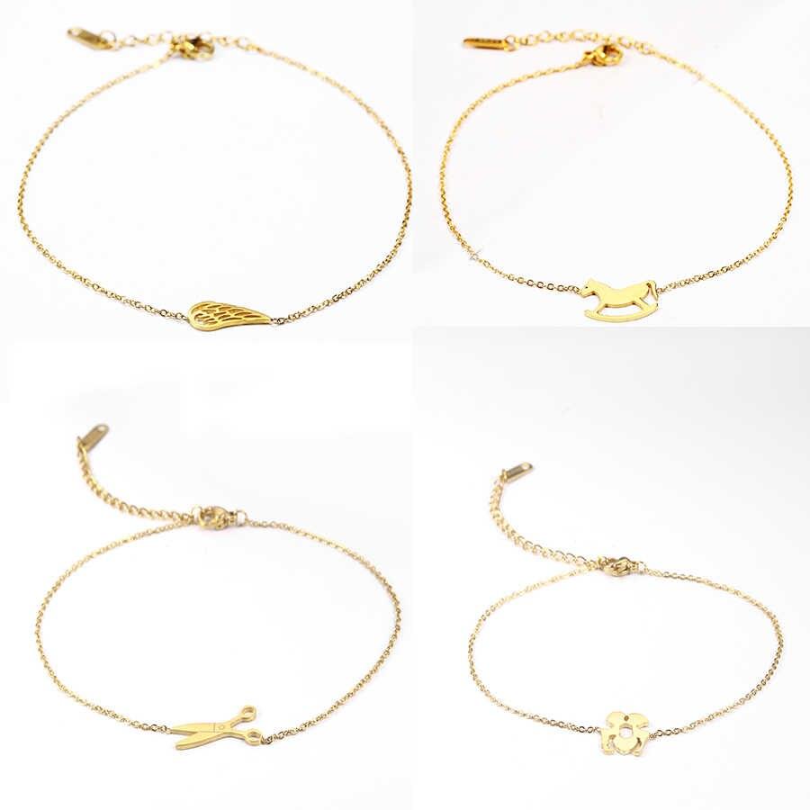 Serce osobisty styl kobiece obrączki ze stali nierdzewnej sandały stóp biżuteria obrączki na kostki kostki bransoletki dla kobiet łańcuszek na nogę