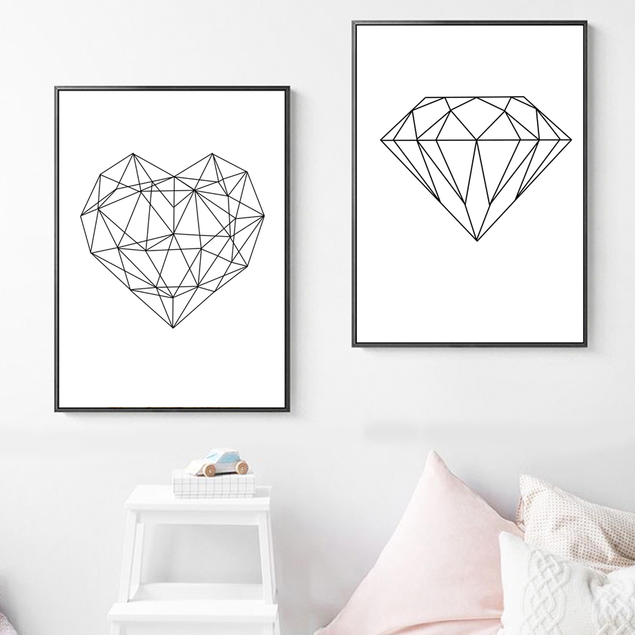 Geometric Heart Diamond Love Quotes Nordic Posters Prints