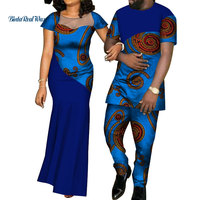African Dresses for Women Bazin Mens Shirt and Pants Sets Lover Couples Clothes Print Yarn Dress African Design Clothing WYQ126