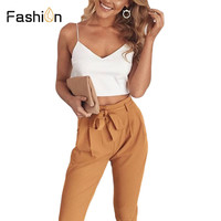 2018 Women Two Piece Set Outfits Long Pants Crop Tops OL Lady V Neck Spaghetti Tops